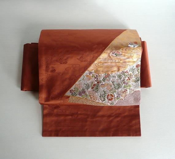 Japonaise obi vintage ceinture brocart de soie terre cuite   Etsy 01a876fd6ac