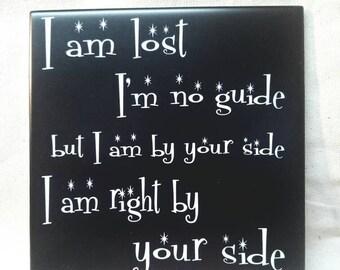 """6""""x 6"""" Leash Lyrics Choice of Glow or Shiny Tile"""