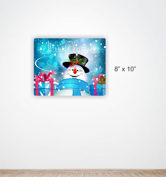 Merry Christmas Aluminum Sign Featuring Frosty The Snowman 4