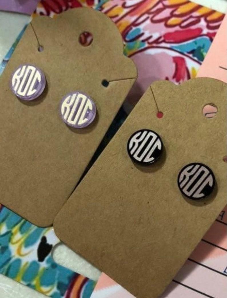 Monogrammed Acrylic Stud Earrings