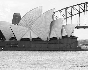 Sydney Opera House Photograph, Sydney Harbour Photography, Sydney Skyline, Australia Decor, Travel Decor, Travel Wall Art, Black and White