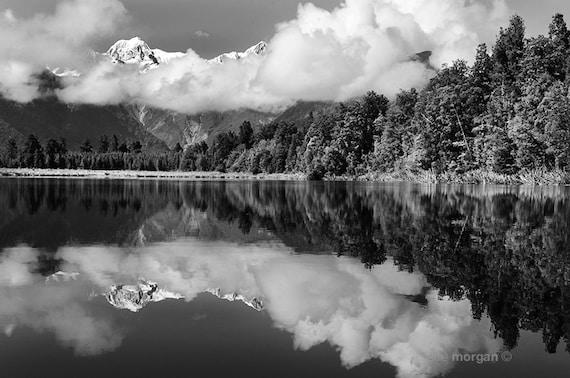 Black and white new zealand landscape photography lake