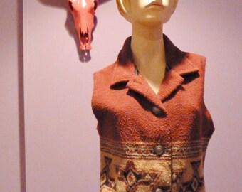 SALE super radical retro circa 1980s southwestern style native indian blanket warm vest womans size small medium large