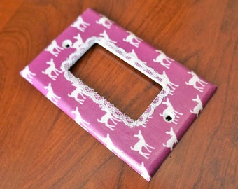 White Fawn SIlhouette Switch Plate w/ White Lace