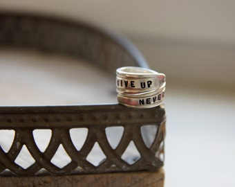 give up - never, silverware ring