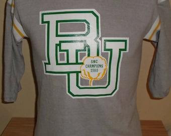 Vintage 1980 Baylor Bears football cotton bowl t shirt jersey d55f44115