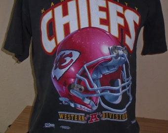 55368ab08 vintage 1991 Kansas City Chiefs football black large t shirt