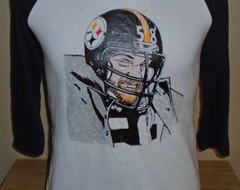 d92c64f014b vintage 1980s Jack Lambert Pittsburgh Steelers football t shirt MED