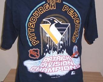 vintage 1993 Pittsburgh Penguins Patrick Division Champions Stanley Cup  black Large t shirt c3142d53a