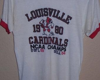 da4ef6d0 vintage 1980 Louisville Cardinals basketball t shirt Medium soooo THIN
