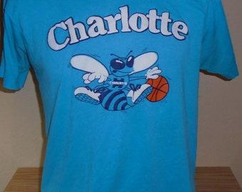 7f3e977f8d4 vintage Charlotte Hornets 50/50 thin NBA t shirt Large