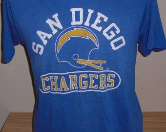 3780d8740 Vintage 1980s San Diego Chargers champion THIN t shirt 50 50 XL