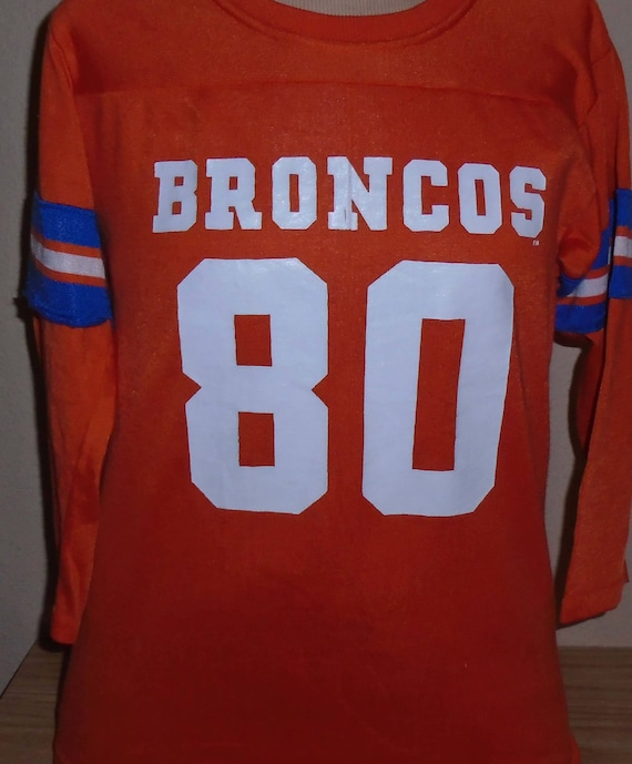 newest 62434 cf717 vintage 1980s Denver Broncos Rawlings football jersey t shirt youth Large