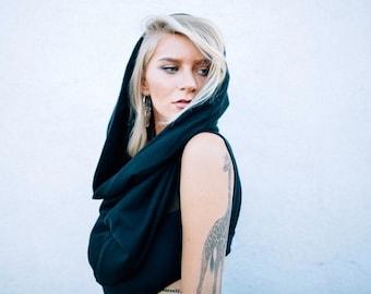 Black Night Cowl Festival Hood With Built In Hidden Pocket