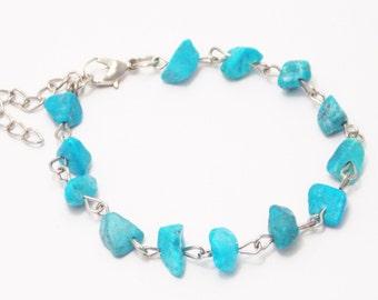 Hostess gift stone jewelry women bracelet something blue jewelry gemstone bracelet blue howlite jewelry wife gift turquoise jewelry bracelet