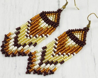 Seed bead earrings long dangle earrings native styles boho gypsy earrings fringe earrings Earthy jewelry tribal earrings brown earrings
