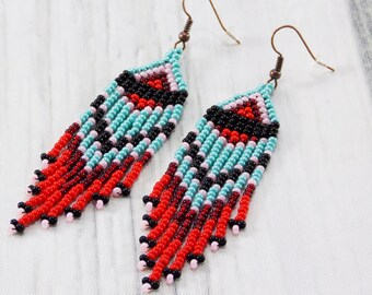 Spring gift girlfriend gifts for every budget gifts turquoise earrings long fringe earrings art earrings festival earrings fashion earrings