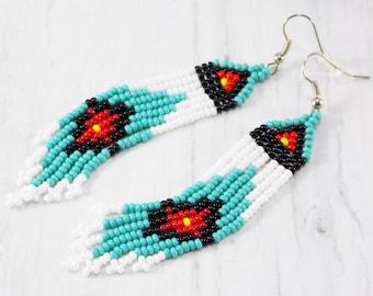American India style earring women Aquamarine earrings handmade Ethnic jewelry aboriginal tribal Festival Boho Jewelry Inlay Earrings store