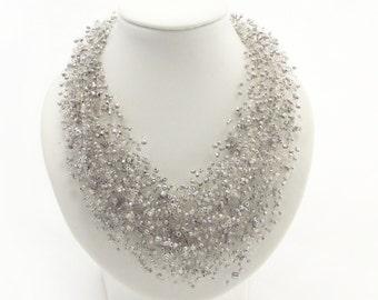 Be my Bridesmaid gift silver jewelry grey necklace multi strand jewelry grey jewelry beaded necklace metallic necklace multi strand necklace