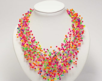 Neon jewelry neon necklace Hawaii Jewelry colorful necklace fun necklace bubblegum necklace bold necklace neon statement necklace for women