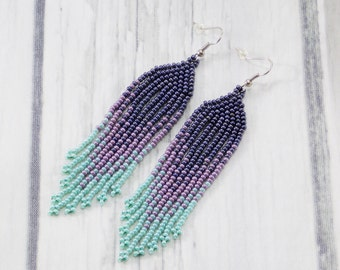 Gift for women beaded jewelry fringe earrings ombre jewelry statement earrings purple earrings beaded earrings Long earrings boho jewelry