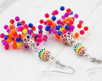 Neon earrings rainbow jewelry unique earrings neon jewelry fun earrings statement earrings bright earrings rainbow earrings summer earrings