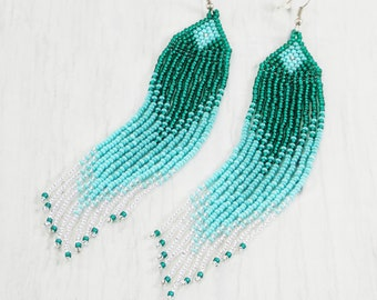 Statement gift ideas for wife birthday women Blue patina earrings Gradient statement boho tassel earrings Nautical mermaid pierced sea wave