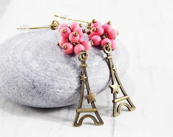 Paris earrings Star jewelry France earrings pink french jewelry paris love paris accessory eiffel tower jewelry Paris jewelry travel jewelry