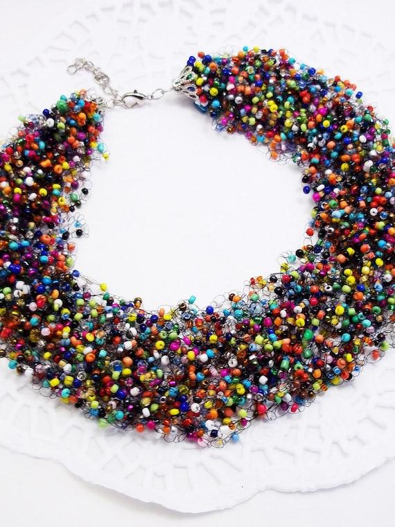 Multi Coloured Wood Long Single Strand Rainbow Bright Beaded Statement Necklace