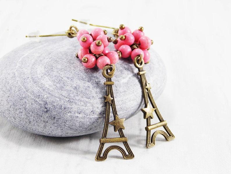 Eiffel tower earrings Paris charm jewelry France earrings Pink image 0