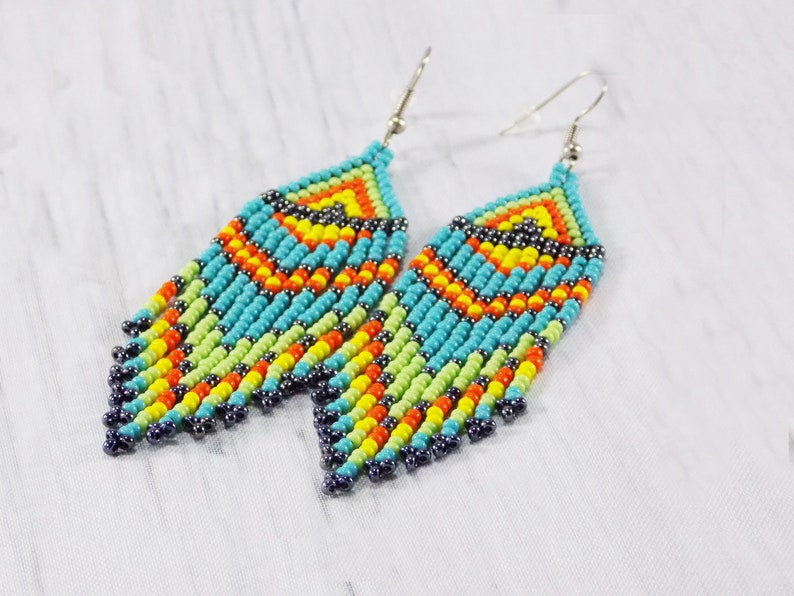 Dangle beaded earrings for women Colour masai jewelry African bead earrings Bright tassel earrings Zulu ethnic Ankara Tribal Earrings beaded