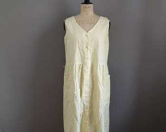 Pale yellow 80s cotton dress / vintage yellow sun dress / yellow cotton pinafore dress / button up  midi / primrose yellow dress / 80s mum