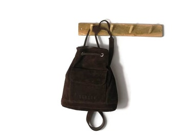 01281da400 Dark Brown Suede Backpack. Hippie leather back purse.