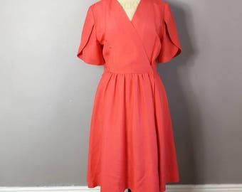 479ccf8760 Vintage Coral Red wrap dress 80. cross over Dress Plain Coral średniej  długości sukienka minimalistyczny rocznik lat 50-tych