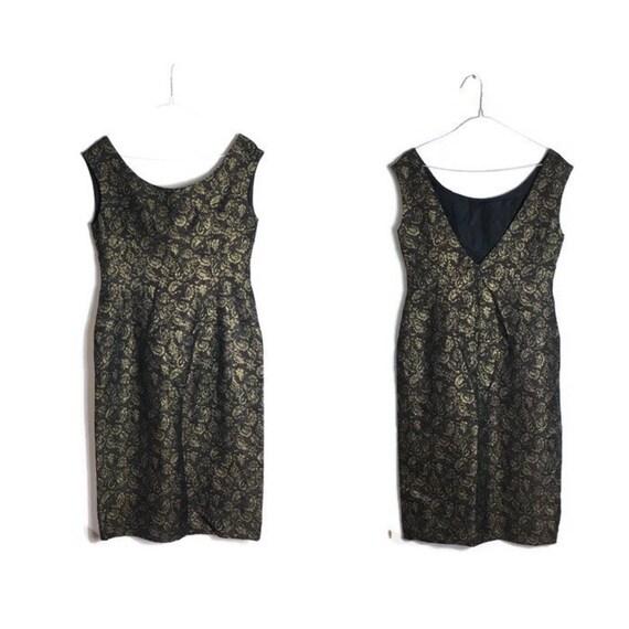 Vintage brocade dress   black gold evening dress   60s  a8b172f1c