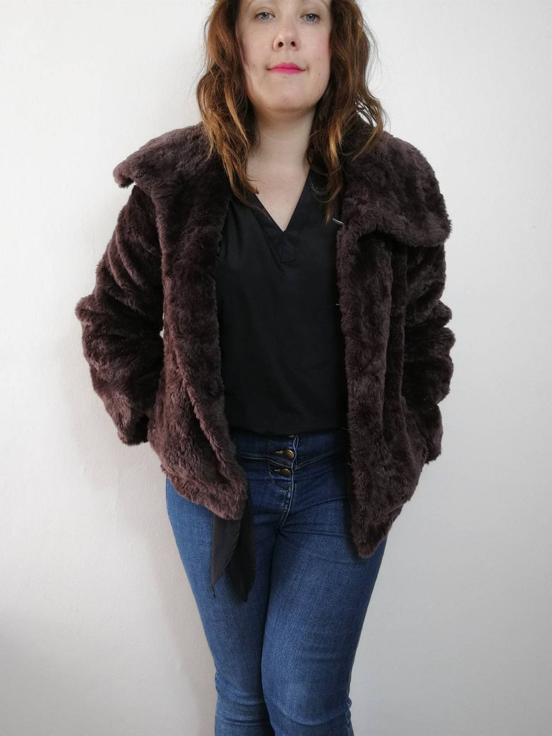 c0ff327acb9 Dark Brown Faux Fur Jacket. Half length vintage 90's | Etsy