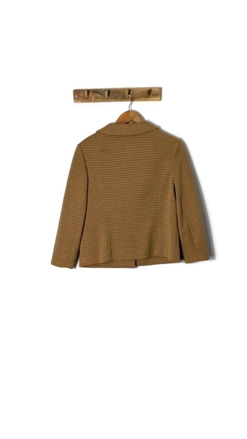 70s Camel Boxy Jacket with white stripes  UK 12