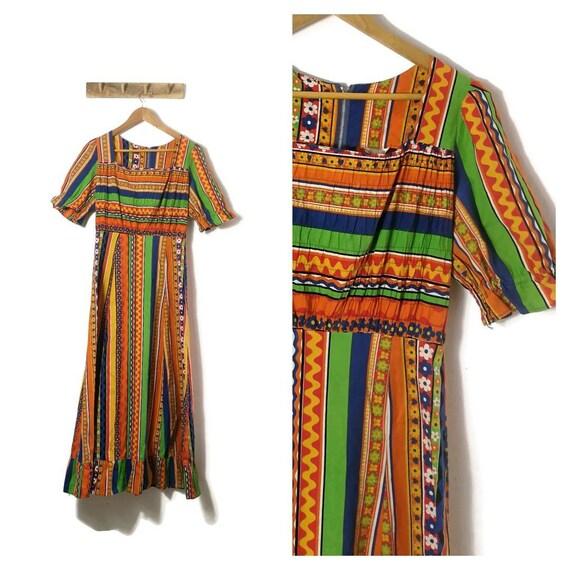 60s Folk Cotton Maxi Dress / colourful folk print