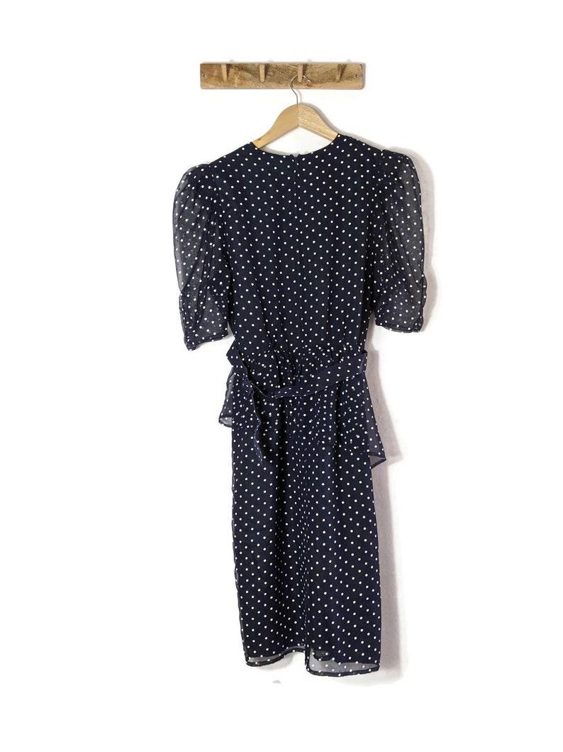 Puff Shoulder Polka Dot Dress  80s Vintage  Small