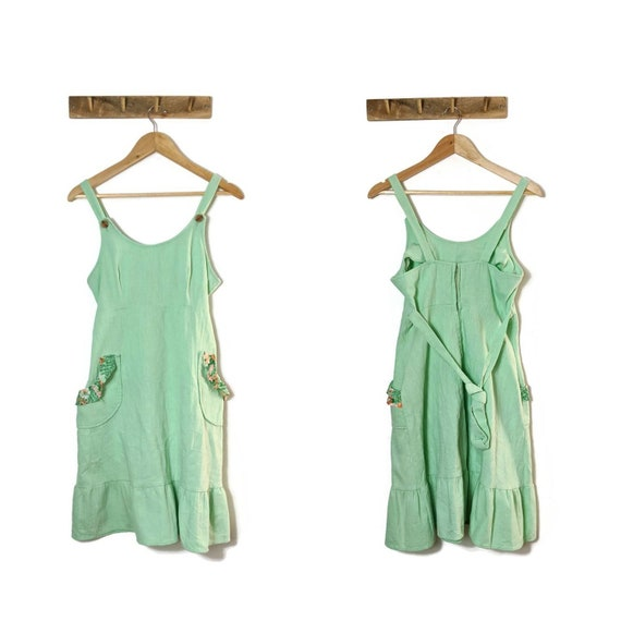 70s Mint Cheesecloth Cotton Sun Dress with pockets