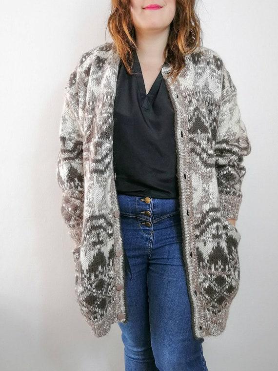 Oversized Aztec Cardigan / 90s lined cardigan coat