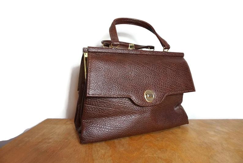 71d0a51785ffa Klassische Vintage Handtasche   braun faux Leder Griff an der