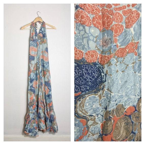 Vintage handmade Cotton Halterneck Maxi Dress