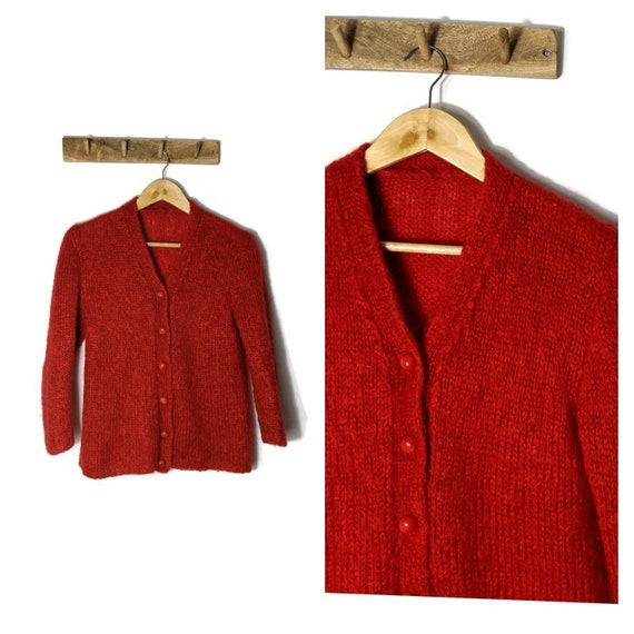 Vintage Red Mohair Cardigan Hand Knitted