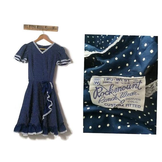 Vinatge Ranch Dress /Blue Polka Dot Cowgirl Dress