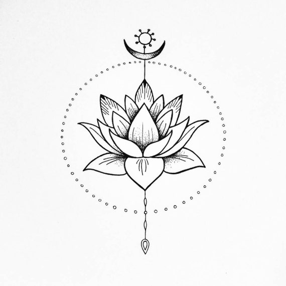 Giclee Spiritual Art Print The Lotus Flower Peace And Etsy