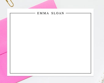 Bordered Modern Personalized Stationery Note Cards, Stationary For Women, Thank you Flat Cards, Personalized Notecards, Gift for Family
