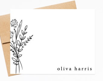 Personalized Minimalist Stationary Cards Gift Set for Her, Simple Flat Notecards, Thank You Stationery Card Set Flat Note and Envelopes