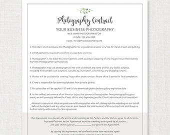 Pography Contract Templates | Photography Contract Etsy