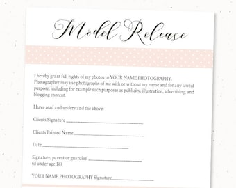 Model Release Form | Printable Photography Model Release Form Template Simple Etsy